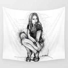 Xenia Tchoumitcheva Squatting Woman Wall Tapestry