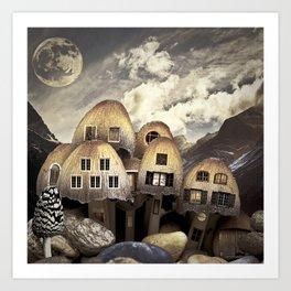 Mushrom Village Art Print