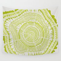 tree rings Wall Tapestries featuring Lime Tree Rings by Cat Coquillette
