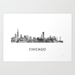 Chicago, Illinois Skyline WB BW Art Print