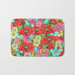 Poppy Floral Greenery Watercolor for SS17 Bath Mat
