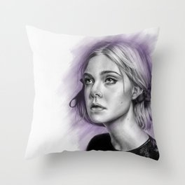Elle Fanning Drawing - Spatter Series Throw Pillow