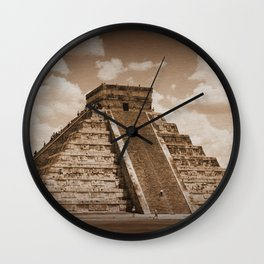Chichen Itza Sepia Wall Clock