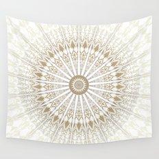 Khaki White Mandala Wall Tapestry