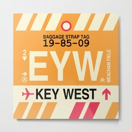 EYW Key West • Airport Code and Vintage Baggage Tag Design Metal Print