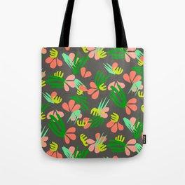 Henri's Garden in gray // tropical flora pattern Tote Bag