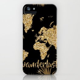 world map gold black iPhone Case