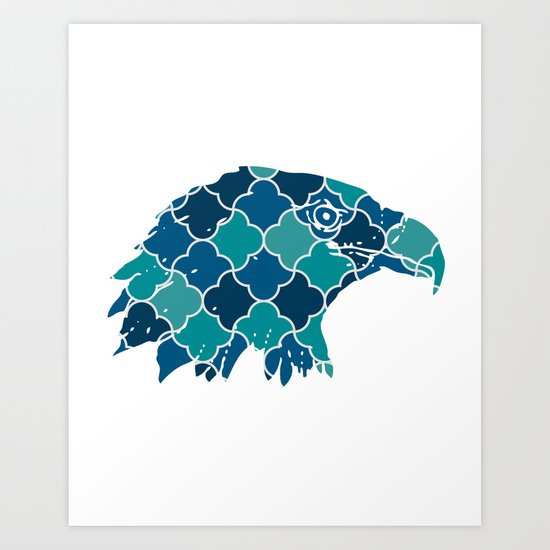 EAGLE SILHOUETTE HEAD WITH PATTERN Art Print