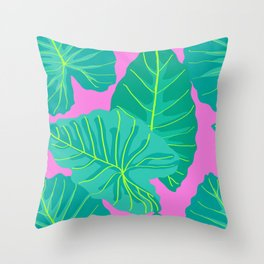 Giant Elephant Ear Leaves in Preppy Pink Throw Pillow