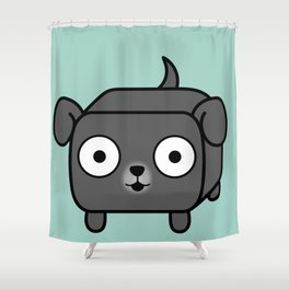 Pitbull Loaf - Blue Grey Pit Bull with Floppy Ears Shower Curtain