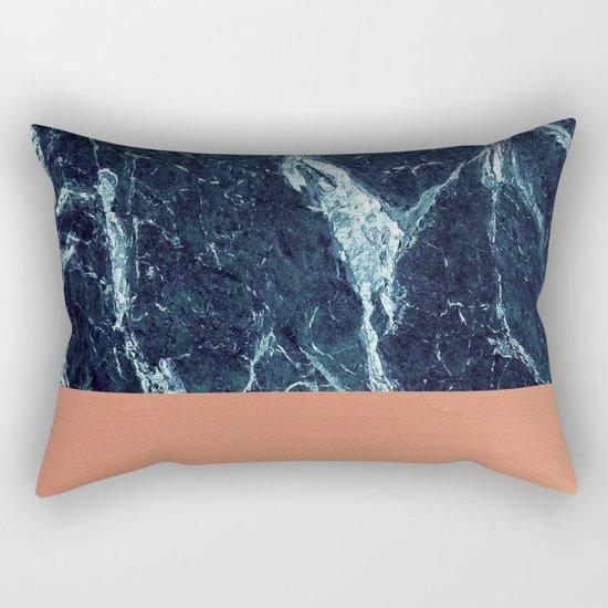 Blue Marble & Copper Rectangular Pillow