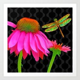 Flower Pop, floral Pop Art Echinacea, dragonfly Art Print