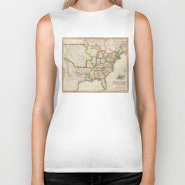 Vintage United States Map (1822) Biker Tank