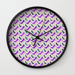High Heels Purple glitter, marble and hearts Wall Clock