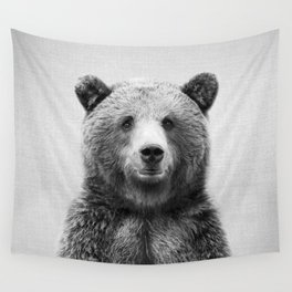 Grizzly Bear - Black & White Wall Tapestry