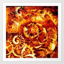 Burnt Umber Sea Shell-Clock Work Abstract Painting Art Print
