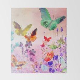 Blush Butterflies & Flowers Throw Blanket