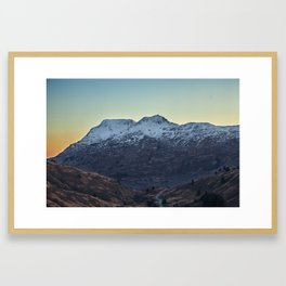 Sunset on a Snow Covered Mountain Photography Print Framed Art Print