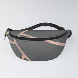 Dark Grey and Rose Gold Textured Fragments - Geometric Design Fanny Pack