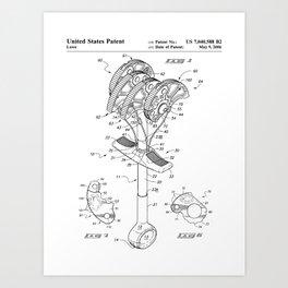 Climbing Anchor Patent - Rock Climber Art - Black And White Art Print