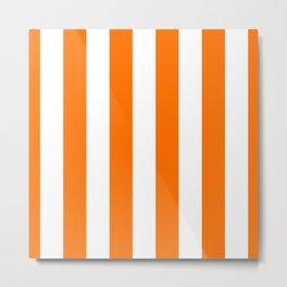Bright Tumeric Orange and White Wide Vertical Cabana Tent Stripe Metal Print