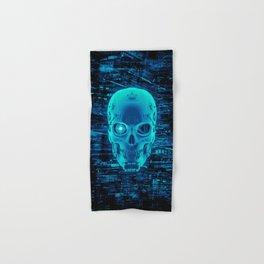 Gamer Skull BLUE TECH / 3D render of cyborg head Hand & Bath Towel