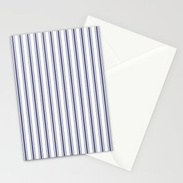 Wide Midnight Blue mattress Ticking Stripes on White Stationery Cards