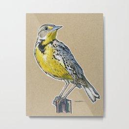 State Bird Series: Wyoming - Western Meadowlark Metal Print
