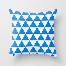 Triangles (Azure/White) Throw Pillow