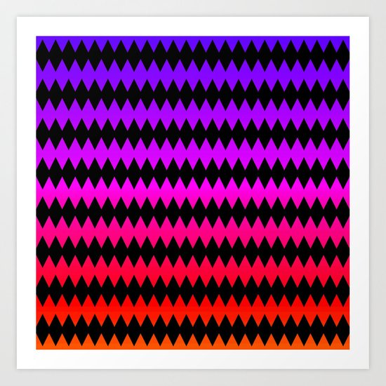 Zig Zag - Purple/Magenta/Red Art Print