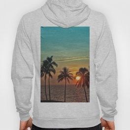 Sunset at Mauna Kea Beach, Hawaii Teal Hoody