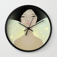 women Wall Clocks featuring women by wit_art
