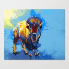On the Plains - Bison painting Canvas Print