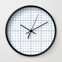 Dotted Grid Weave Blues Wall Clock