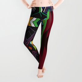 Aztec Central America Inspired Modern Geometric Design Leggings
