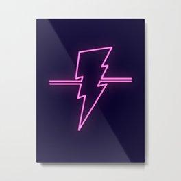 Rad Pink Neon Lightning Metal Print