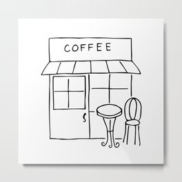 Little Coffee House // Cafe Sketch Metal Print