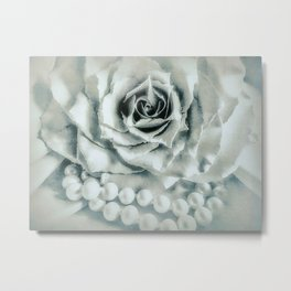 Rose Flower & Pearls Modern Cottage Decor Modern Country Art A483 Metal Print