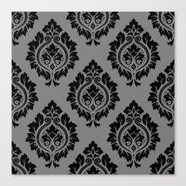 Decorative Damask Pattern Black on Gray Canvas Print