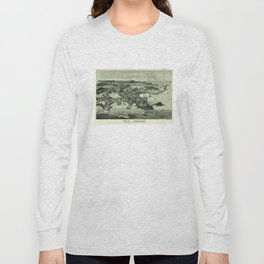 Vintage Pictorial Map of Woods Hole Falmouth MA (1887) Long Sleeve T-shirt