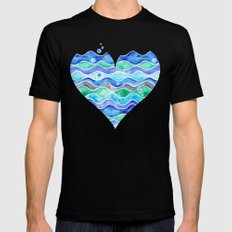A Sea of Love (white) Black Mens Fitted Tee MEDIUM