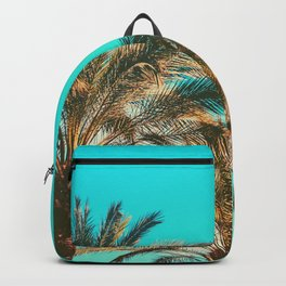 Tropical Palm Trees  - Vintage Turquoise Sky Backpack