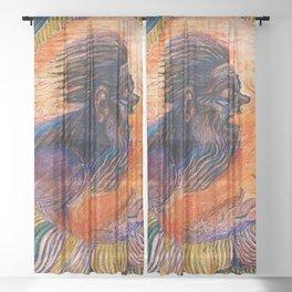 Witch Doctor (Shaman) by David Davidovich Burliuk Sheer Curtain