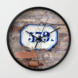 Number 539 on brick wall Wall Clock