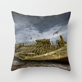 Boat Shipwreck on the Beach Shore Throw Pillow