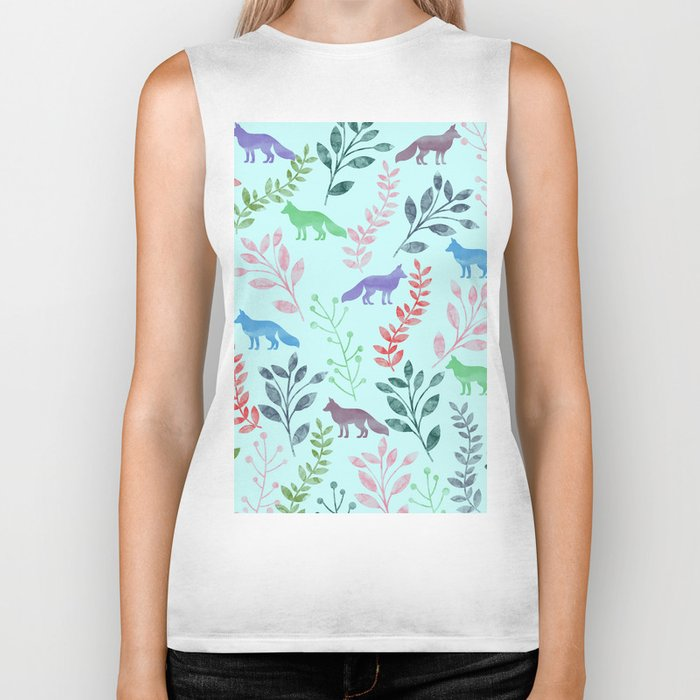 Watercolor Floral & Fox Biker Tank
