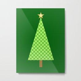 Lime Green Polka Dot Modern Christmas Tree Metal Print