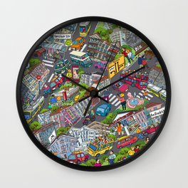 Illustrated map of Berlin-Prenzlauer Berg Wall Clock