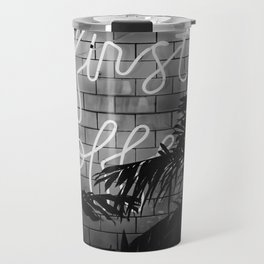 But First Coffee (Black and White) Travel Mug