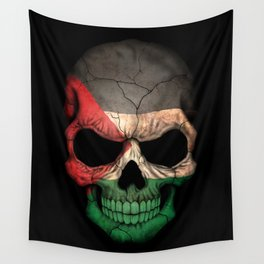 Dark Skull with Flag of Palestine Wall Tapestry